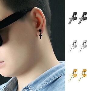 Image Is Loading 1 Pair Mens Cross Earrings Anium Steel
