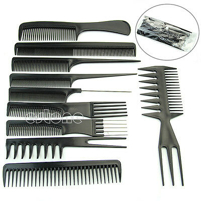 Pro Salon Hair Styling Hairdressing Plastic Barbers Brush Combs Black 10Pcs/Set