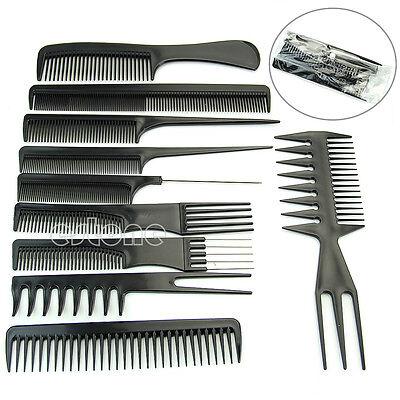 Pro Salon Hair Styling Hairdressing Plastic Barbers Brush Combs Black 10Pcs/Set