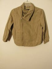 S6843 Hurley Women's Small Tan Asymmetrical Zip Funky Collar 3/4 Sleeve Jacket