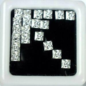 20 Pcs White Sapphire Natural Gemstone Lot 6 Ct/3 mm Square Cut Certified CC34