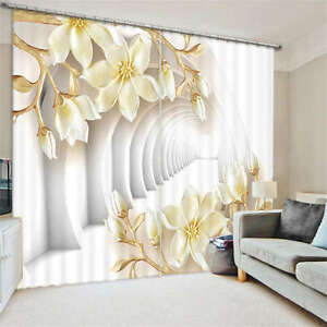 White-Corridor-Flowers-3D-Blockout-Photo-Printing-Curtains-Draps-Fabric-Window