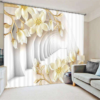 White Corridor Flowers 3D Blockout Photo Printing Curtains Draps Fabric Window
