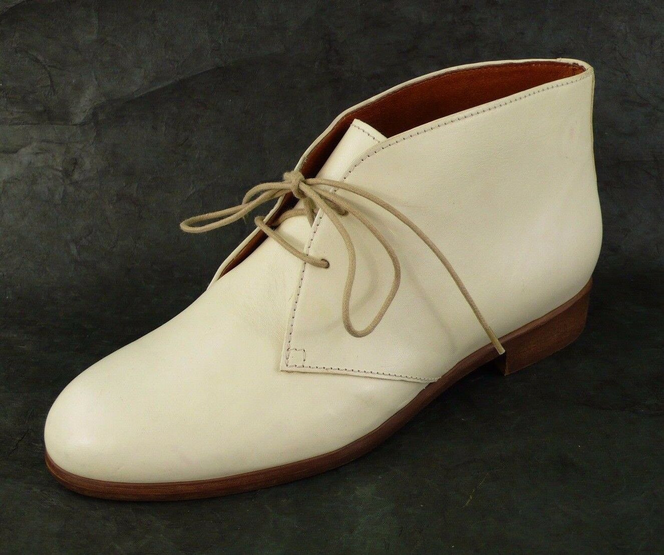 NEW MADEWELL / J. CREW LEATHER ANKLE BOOTS FRESH CREAM SIZE 7 ITALY Retail $238
