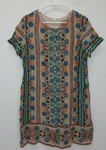 Anthropologie-Women-039-s-Kachel-Short-Sleeve-Silk-Dress-Size-12