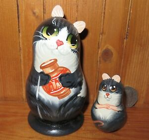 BLACK CAT & Milk Jug MOUSE Russian small hand painted Dolls signed Mytryoshka 2