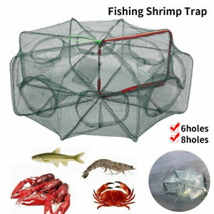 6 Holes Folding Fishing Trap Crab Crawdad Shrimp Minnow Net Fish Dip Cage