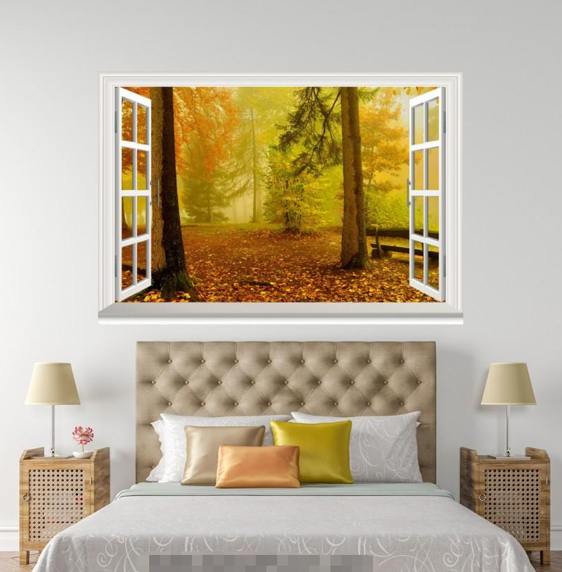 3D Gelb Leaf Forest 048 Open Windows WallPaper Murals Wall Print AJ Carly