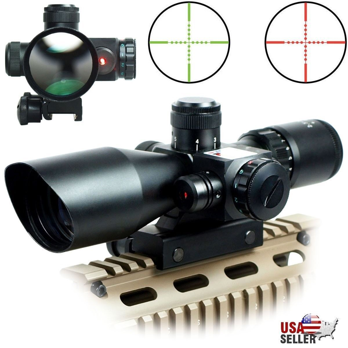 2.5-10x40 Tactical Rifle Scope Red Green Mil-dot illuminated Red Laser Mount US^