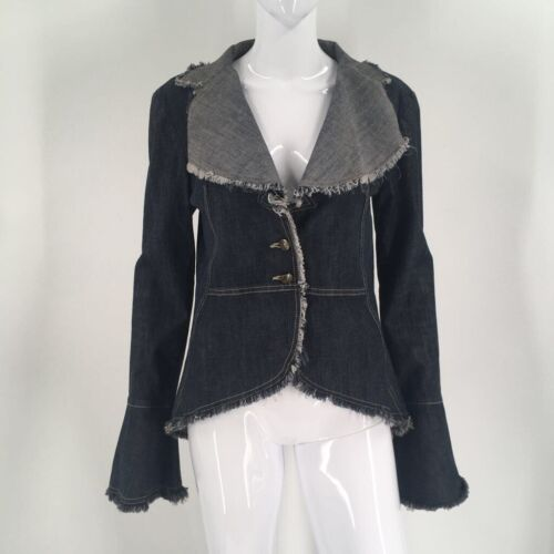 Chemin De Fer Womens Jean Jacket Blue Buttons Fray