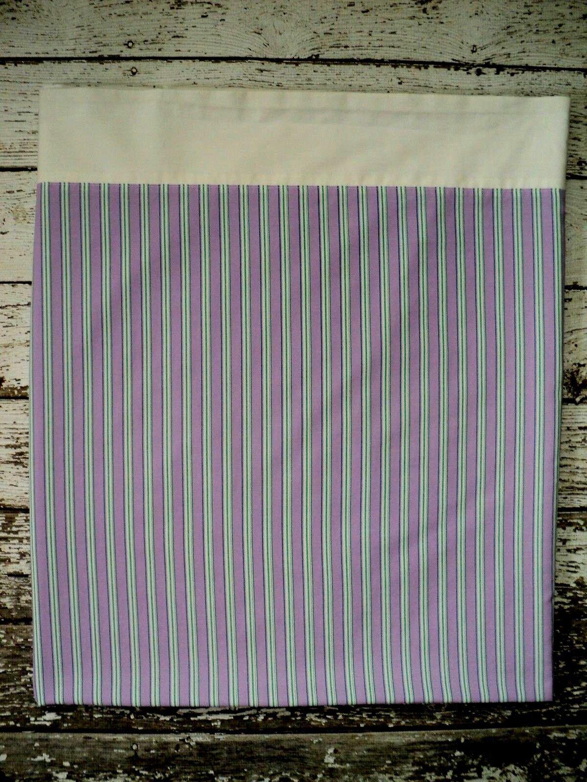 RALPH LAUREN Watermill Flat Sheet Queen Size Lavender French Stripe White Cuff