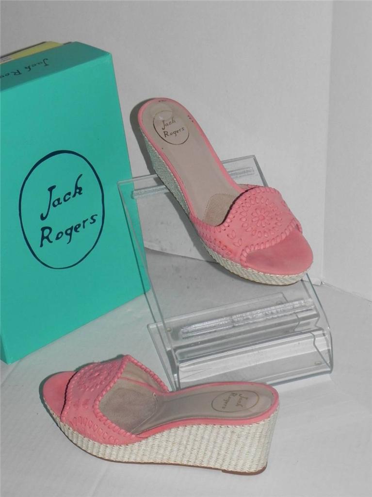 Jack Rogers Barcelona Rose Nubuck Open Toe Raffia Platform Wedge Slide Schuhes 11