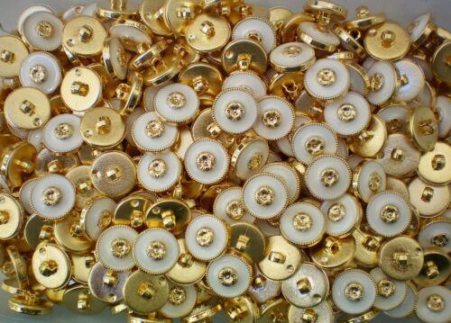 W653 15mm 24L Blanco Marfil Y Oro Flor De Caña Vestido Chaqueta Abrigo Botón Botones
