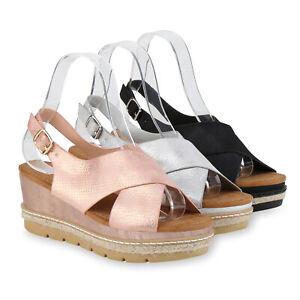 Sandalen Details Damen Sandaletten Zu Schuhe Metallic Plateau 826403 Mid Keilabsatz Heel DWH9E2I