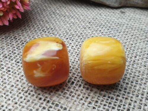 2 Stück african cooked Amber Phenolharz Kunstharz Kugel Olive Perlen 24*22 mm