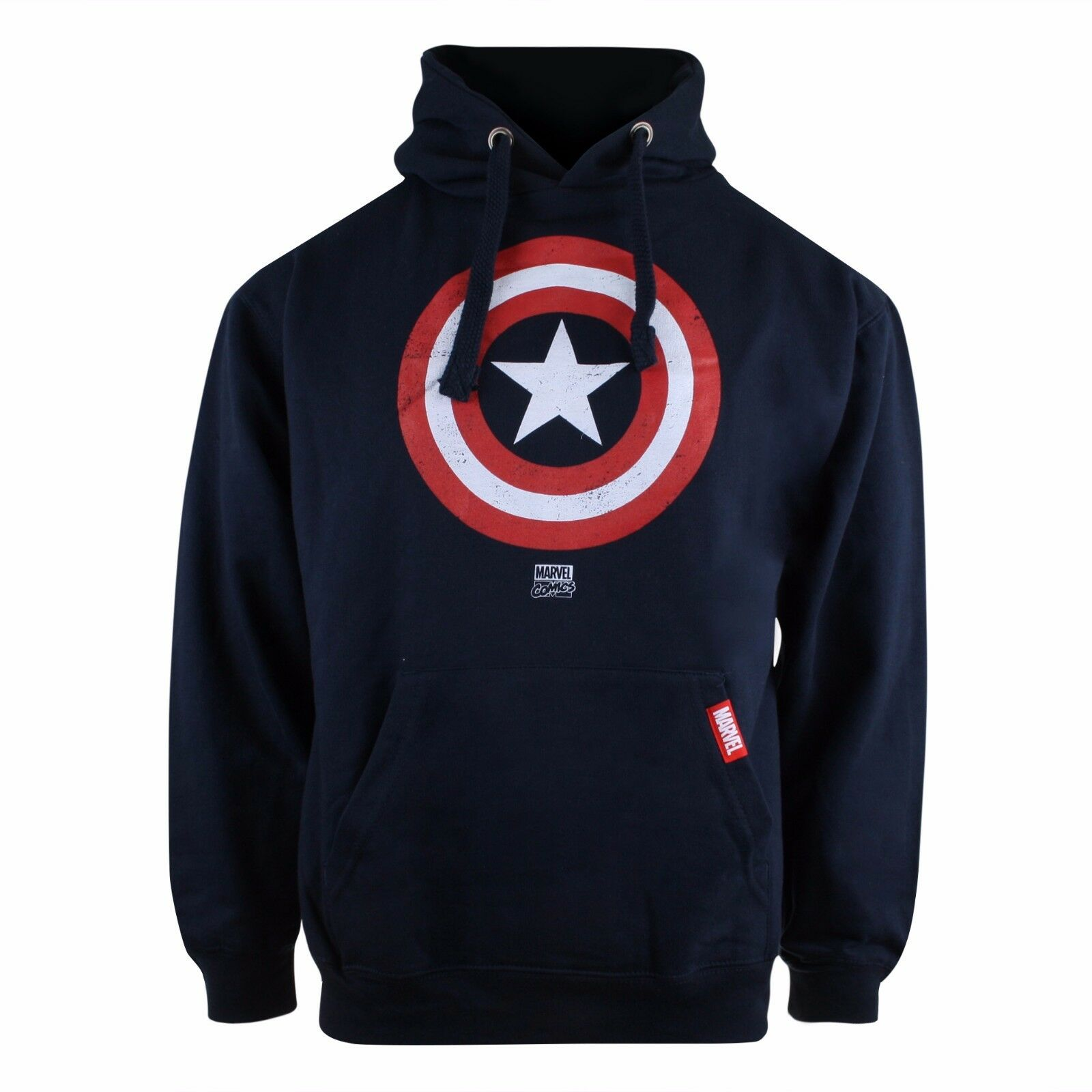 details about mens marvel captain america shield logo hoodie hoody - navy  blue - sizes s-xxl