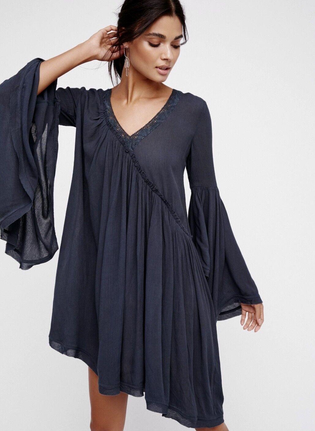 a5d190ca NEW Free People dark bluee Oversize Lace Asymmetrical Midi Swing Tunic Dress  S