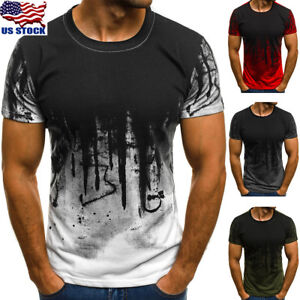 Men-Slim-Fit-O-Neck-Short-Sleeve-Muscle-Tee-Shirts-Casual-T-shirt-Tops-Blouse-US