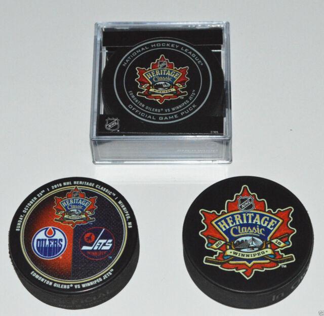 3 HERITAGE CLASSIC PUCKS SET 2016 Edmonton Oilers vs Winnipeg Jets Game Logo