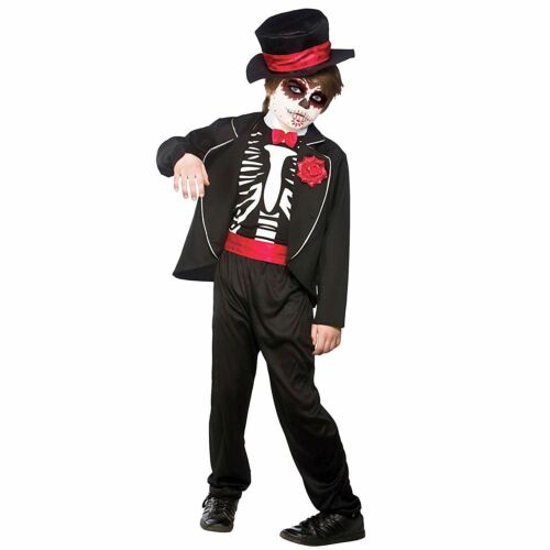 Boys Day Of The Dead Zombie Groom Costume Halloween Fancy Dress Outfit