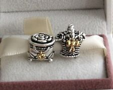 Pandora Forever bloom and Pandoras BOX Charm Bead Authentic Silver 14k Gold US