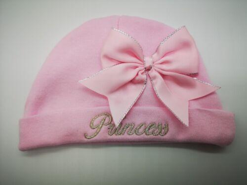 Personnalisé En Coton Brodé Princesse ou nom chapeau /& Chaussette Set 0-3 ou 306 mois