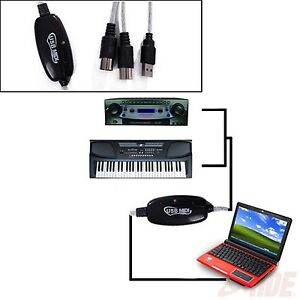 USB In-Out MIDI Interface Cable Converter PC Music Keyboard Instrument Adapter