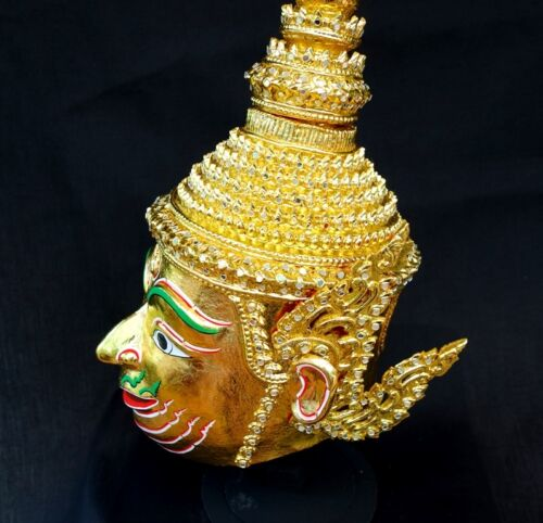 Lakshmana Mask Khon Gold Thai Handmade Ramayana Home Decor Collectible Gift New
