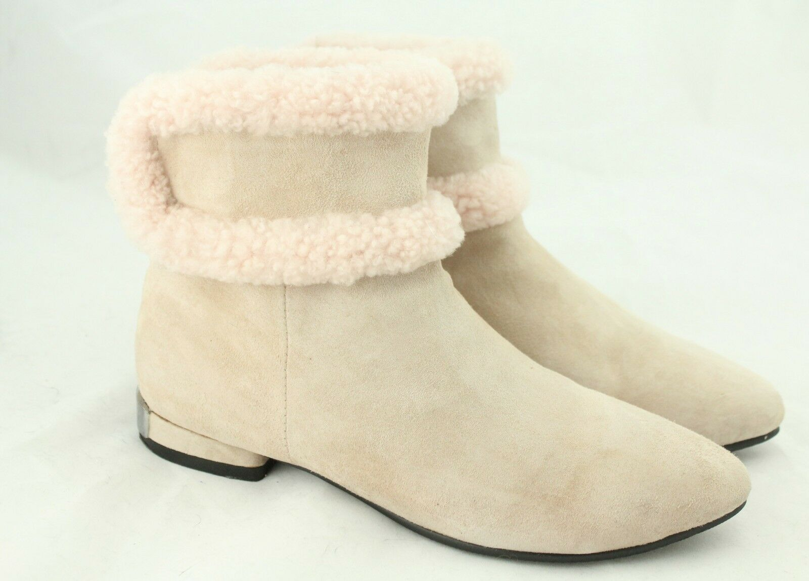 Sheepskin Chelsea Real Shearling Fur Lined Genuine Suede Pale Pink Ankle Boots 7