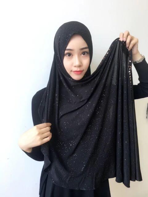 Muslim Women Hijab Long Scarf Headscarf Glitter Shawl Head Wrap Shayla Islamic