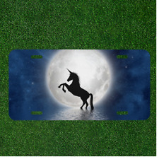 4 Holes WONDERTIFY License Plate Cool Unicorn Pegasus on The River Night Blue Decorative Car Front License Plate,Vanity Tag,Metal Car Plate,Aluminum Novelty License Plate,6 X 12 Inch