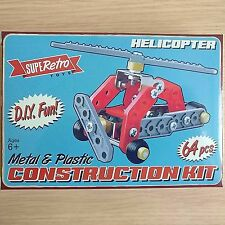 NEW BOXED - HELICOPTER CONSTRUCTION KIT - Metal & Plastic - 64 Piece - Ages 6+