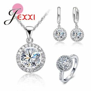 Exquisite-Women-Wedding-Necklace-Earring-Ring-Jewelry-Set-925-Sterling-Silver-Zi