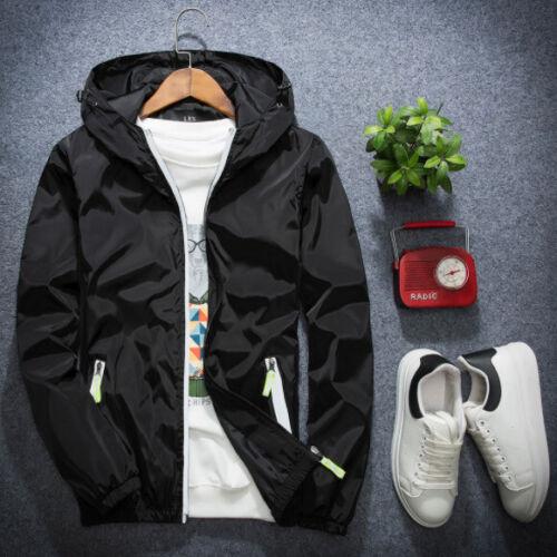 Plus Size Men Hooded Jacket Thin Windbreaker Sport Loose Coat Top Korean Fashion