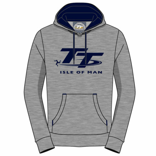 2019 Isle of Man TT Races Official Grey and Navy Pull Over Hoodie 19AH6