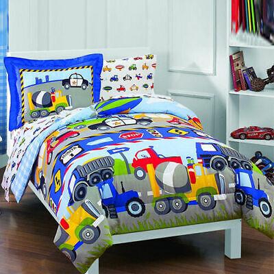Reversible Twin Size Boy Bedding Set 5pc Kid Toddler Comforter