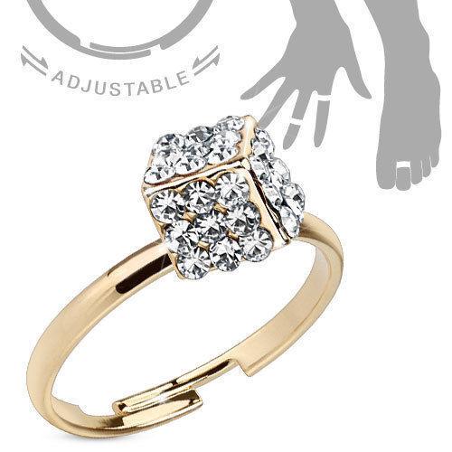 Zehenring vergoldet Würfel Fußring Mid Midi Ring Zirkonia Kristalle Klar