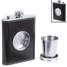 Black Wrap Alcohol Flask Built-in Collapsible Shot Glass Screw Cap Pocket Liquor