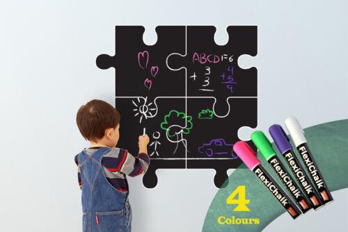 Children Puzzle Blackboard Wall Stickers with Flexichalk Marker Neon Colour