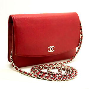 3415f98fc00846 n09 CHANEL Authentic Red Caviar Wallet On Chain WOC Shoulder Bag ...