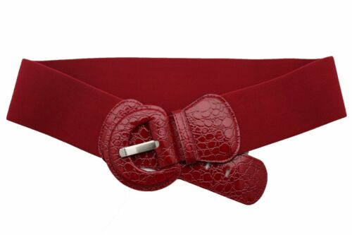 Donna Fianco Vita Alta Cintura Alla Moda Rosso Elastico Fibbia Plus XL XXL XXXL