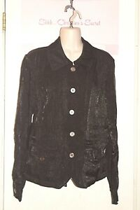 LINEAR-Shirt-Blouse-Jacket-Top-Black-Shimmering-Sz-L-XLNT