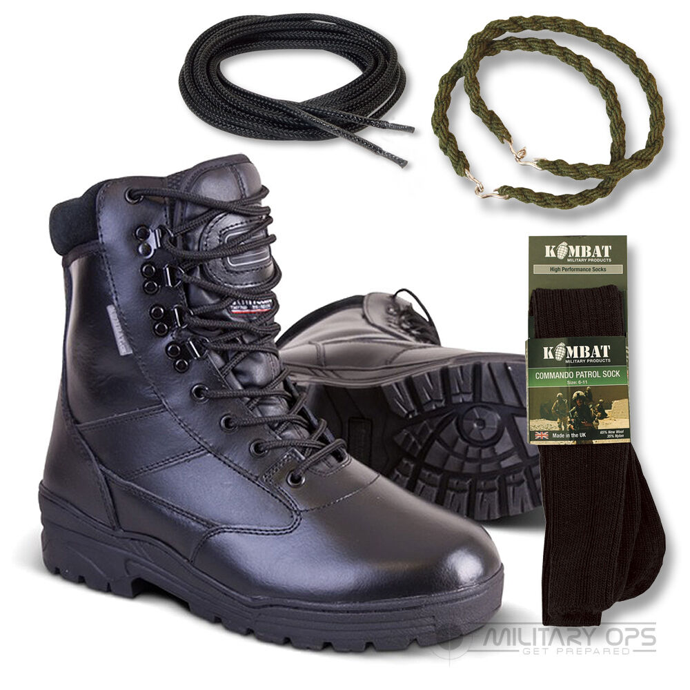 ARMY FULL LEATHER COMBAT PATROL WITH botas Negro CADET NEW WITH PATROL SOCKS LACES TWISTS b26dc3