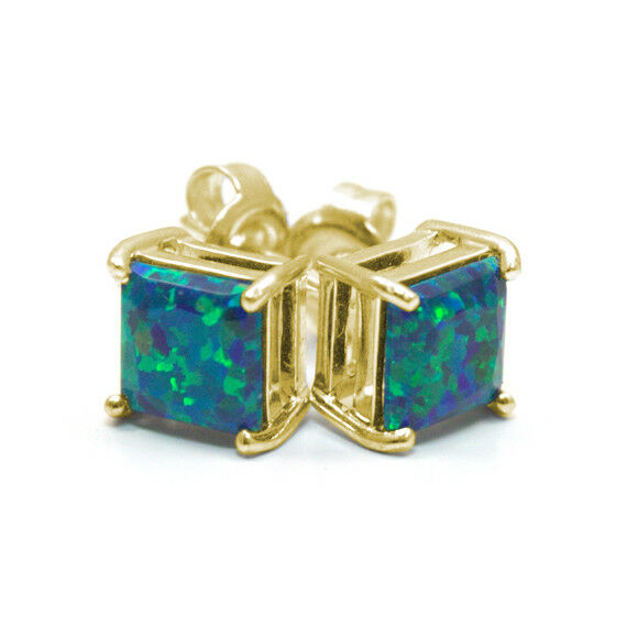 Galaxy Opal 2.5ct Princess cut Solitaire Solid gold 9ct Stud Earrings (OP13)