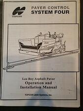 Topcon Paver Control System Four Lee Boy Asphalt Paver Ops Amp Installation Manual