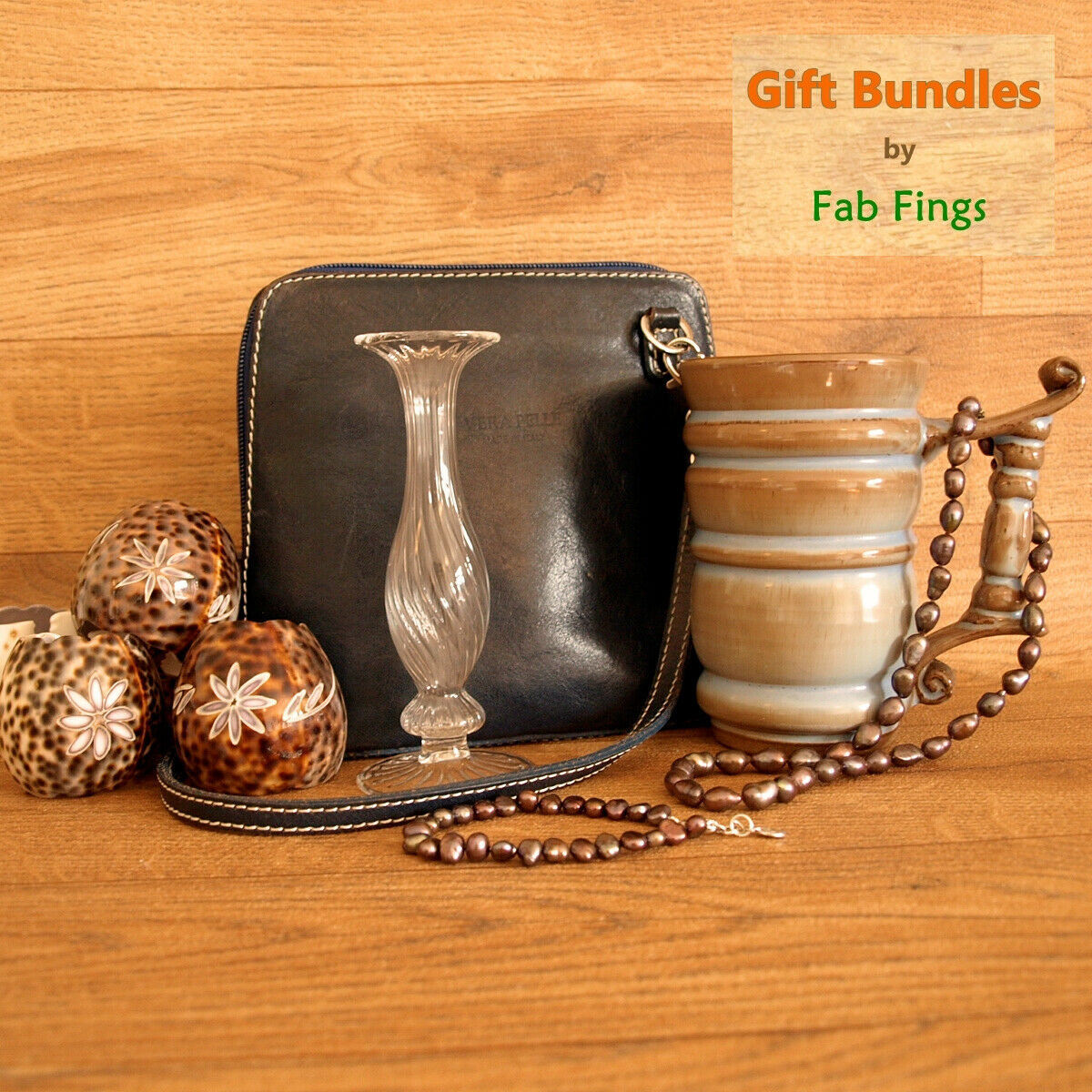 Unique gift bundle with genuine pearls & 925, leather bag, studio pottery, etc
