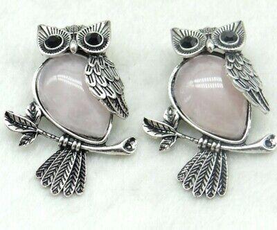 aventurine Gemstone animal Owl Archaize silver Pendant making Jewelry Brooches