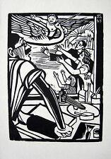 """C.FELIXMÜLLER: KLAPPERSTORCH GEBURT ENKELIN """"OKTOBER"""" ORIGINAL-HOLZSCHNITT 1947"""