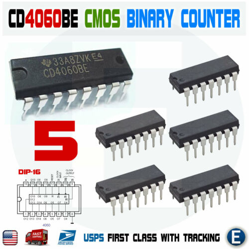 5pcs CD4060 CMOS Binary Counter IC 4060 CD4060BE DIP-16 CD4060B Texas Instrument