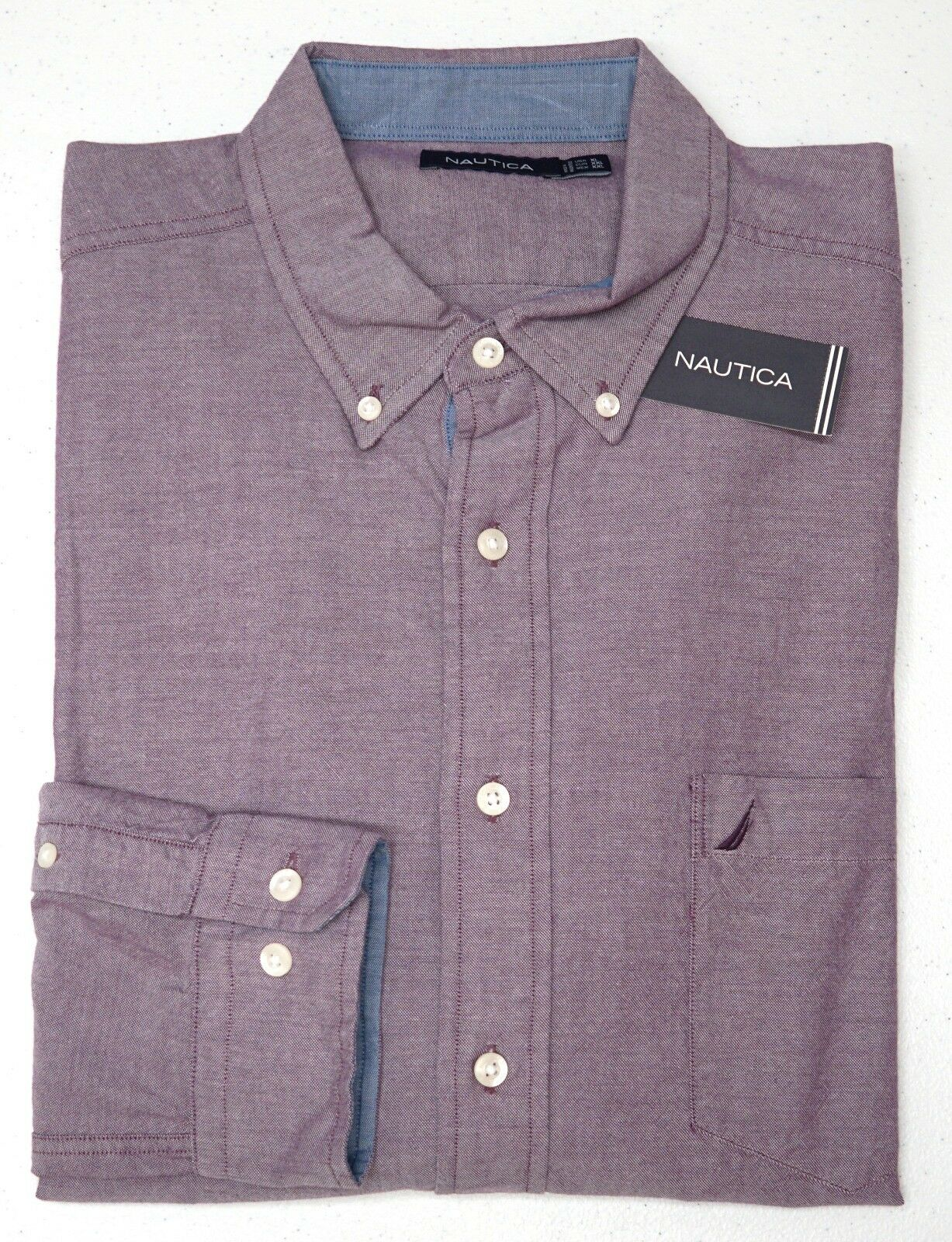 Orig  Nautica Purple Long Sleeve Shirt Mens Size XL 100% Cotton Heather NEW